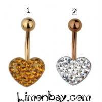 Belly ring with crystal heart