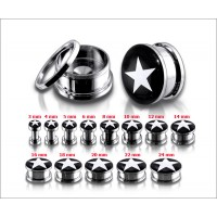 Screw Fit White star Ear Plug
