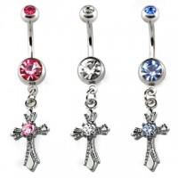 Navel ring – Cross with crystal