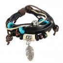 Bracelet - brown tones and feather