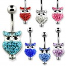 14g banana belly ring with multi crystal owl design