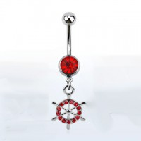 Belly ring – Dangling Ship wheel