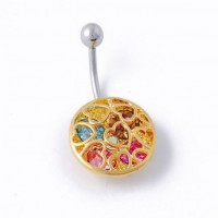Belly ring - Golden circle with hearts and multicolor crystals