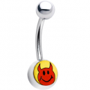 14g banana belly ring with red devil