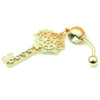 Belly ring - Gothic golden key