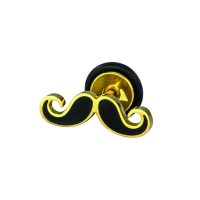 Earring with golden and black moustache