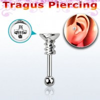 Tragus barbell – Screw shaped