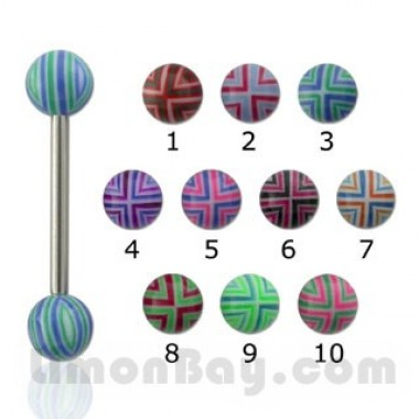 Barbell con bolas y cruz rayada de colores