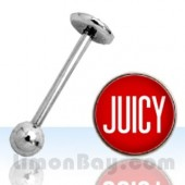 Piercing de lengua con logo 'Juicy'