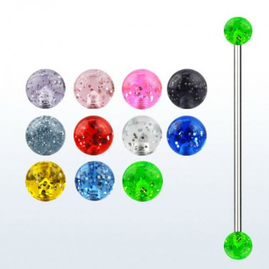 Piercing industrial con bolas UV con brillantina
